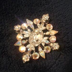Vintage Iredicent Crystal Brooch